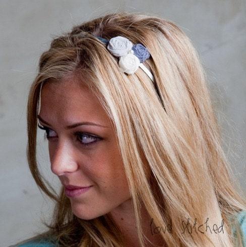 IVORIE - Gray and cream petite rosette headband / hair piece