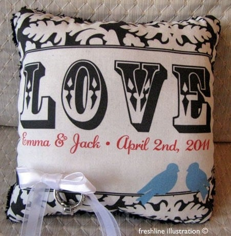 Custom Bluebirds with Love phrase Personalized Wedding Ring Bearer Pillow in Your Wedding Color Scheme
