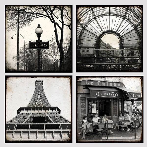 Париж, черно-белый малого коллекция - 8 х 8 дюймов - Paris Photo - художественной фотографией - Париж Декор - Париж Фото