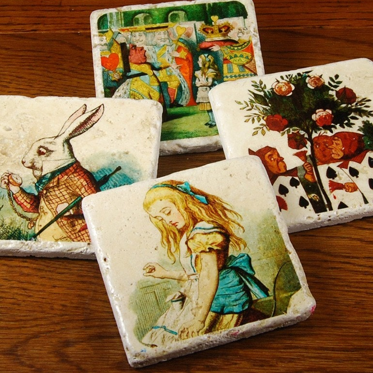 Alice in Wonderland - stone drink coaster set