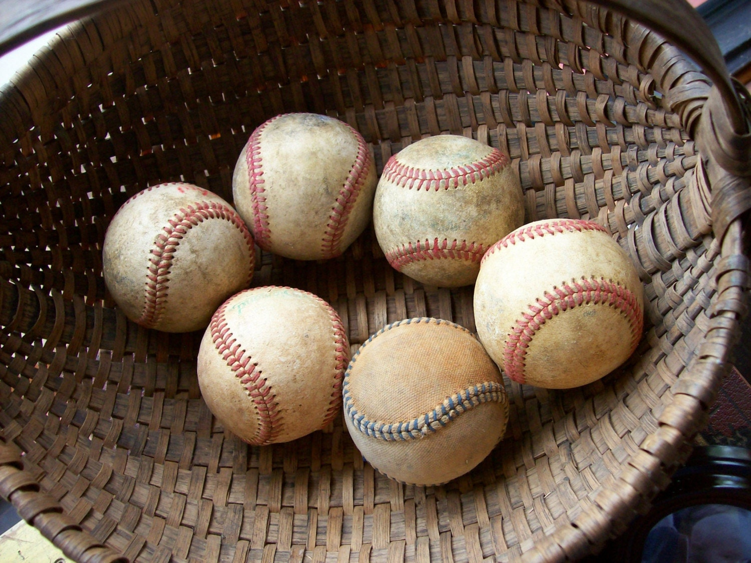 Six Vintage Leather and Cloth Baseballs Some Marked