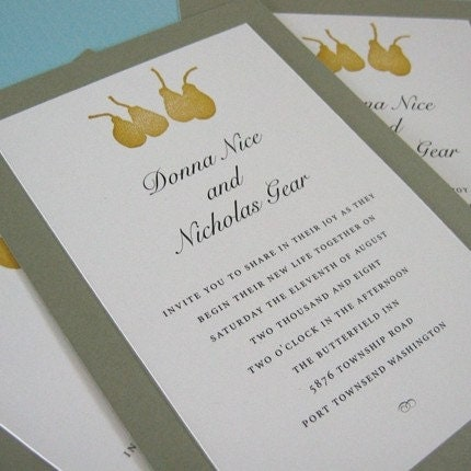 Pear Print Weddding Invitations - set of 25
