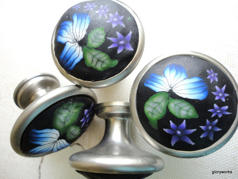 Six Stunning Satin Nickel Polymer clay Cabinet Knobs