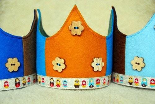 Waldorf Wool Felt Crown -  orange and turquoise matryoshka
