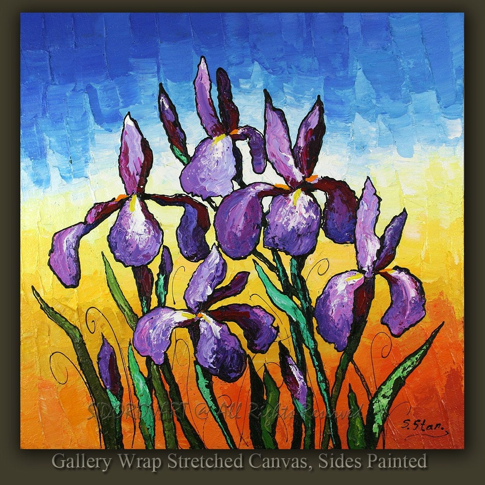 ORIGINAL contemporary fine art textured modern palette knife painting  Flowers Series 24inX24in