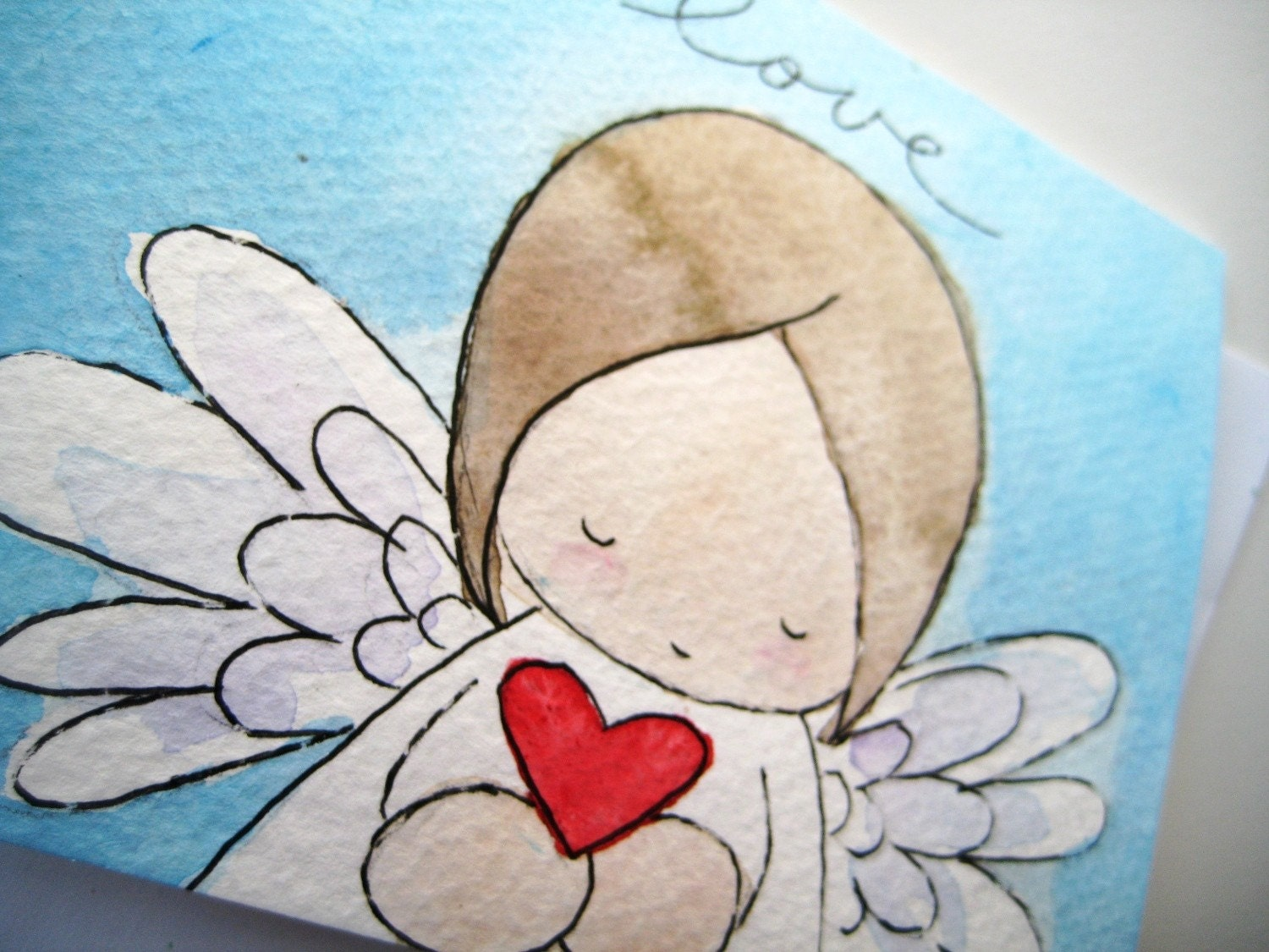 angel with heart - ONE handpainted watercolor notecard