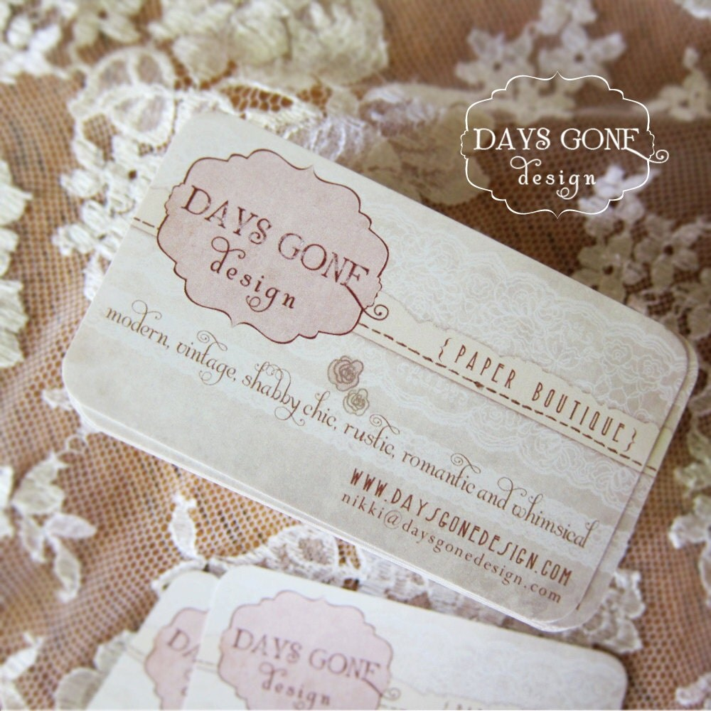 Pretty Chic Lace Custom Business Cards - 50