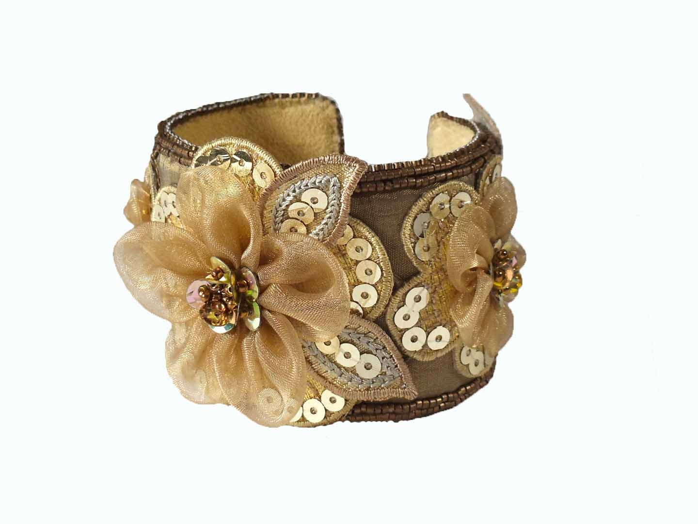 Floral Bracelet || Gift Ideas for Her || Organza Flowers || Holiday Gift Ideas - JewelrybyEmme