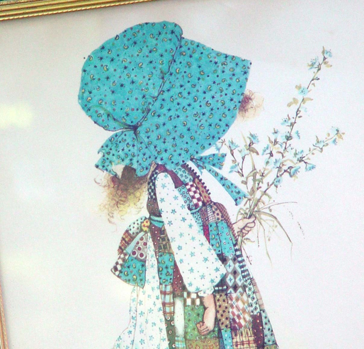 Holly Hobbie Illustration In A Brass Frame Cute 1970s Retro Country Home Decor