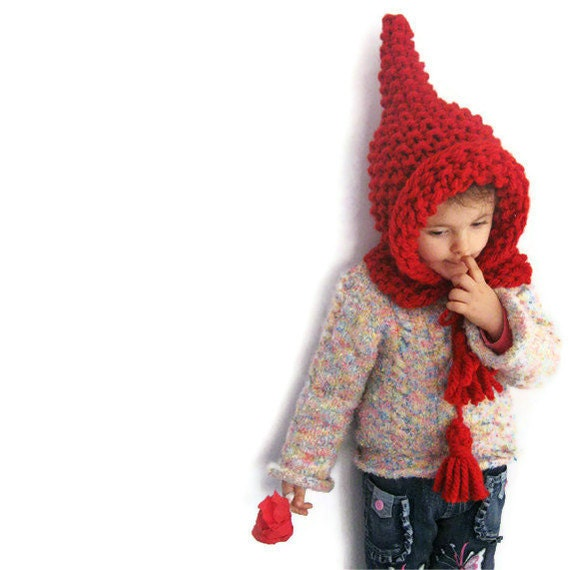 Red Elf Pointed Wool Hat, Bulky Chunky Wool Elfish Kid Knit Hat, ELFICA, Hood and Shawl by Solandia - in More Colors now - Solandia