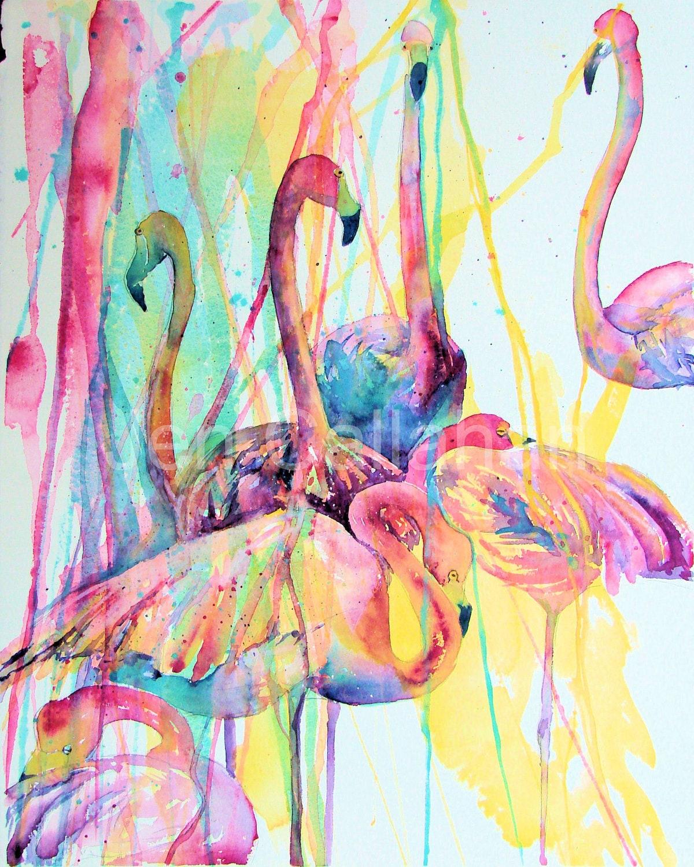 Items Similar To Flamingo Painting Art Tropical Flamingos