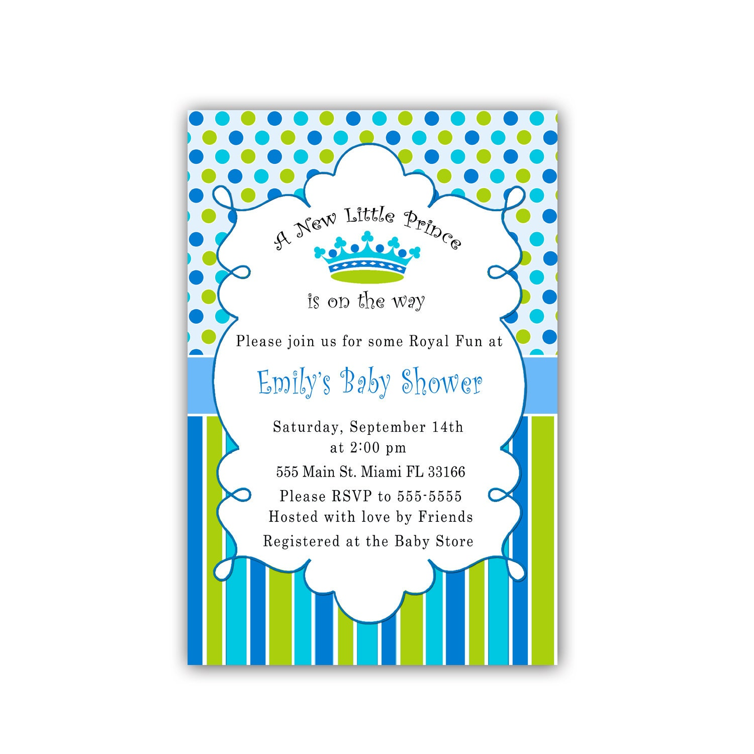 Little Prince Baby Shower Invitations Blue Green by pinkthecat