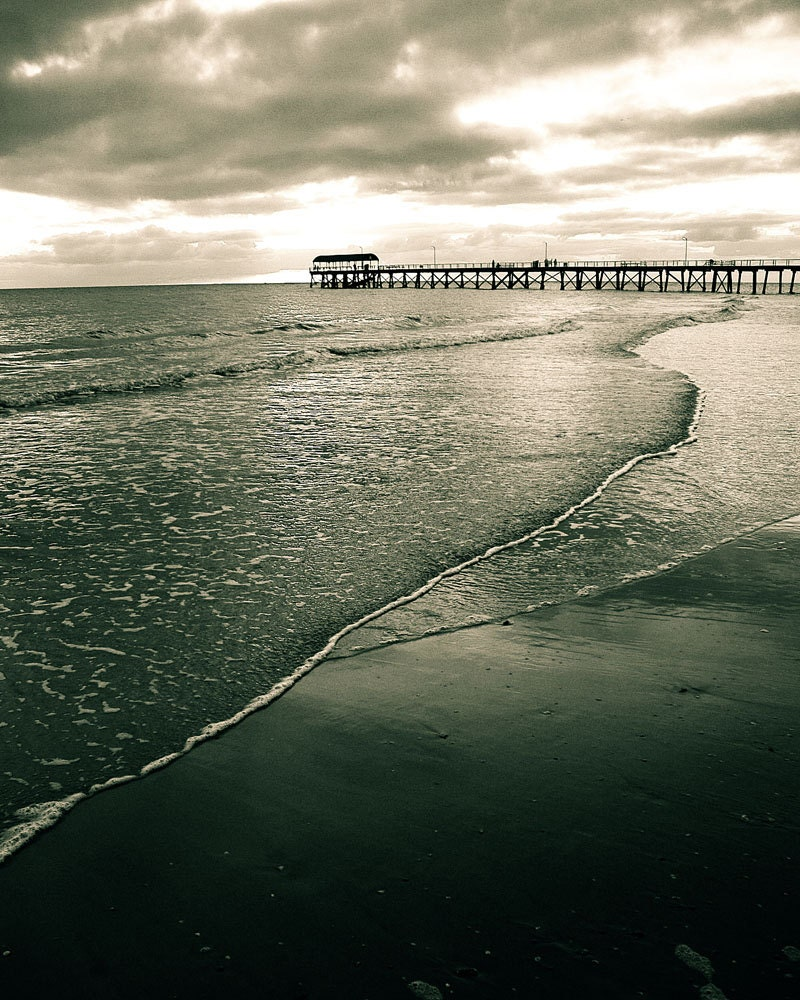 Beach Photography, Ocean Photography, Sea, Jetty, Pier, Clouds, Cold, Australia Art, 8 x 10 Fine Art Photography - Colourscape