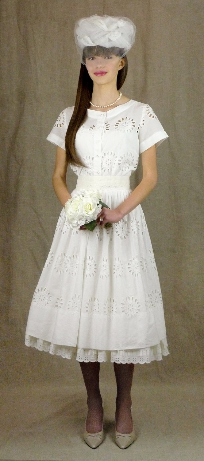 White eyelet wedding or summer dress by pinkysofsaratoga for White cotton eyelet wedding dress