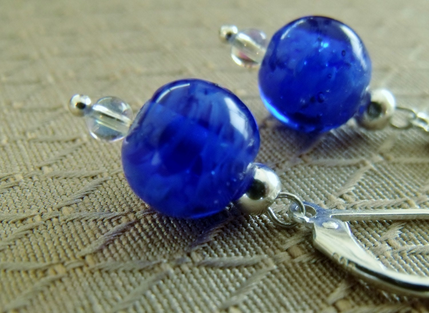 Sterling Silver Blue Beaded Dangling Earrings