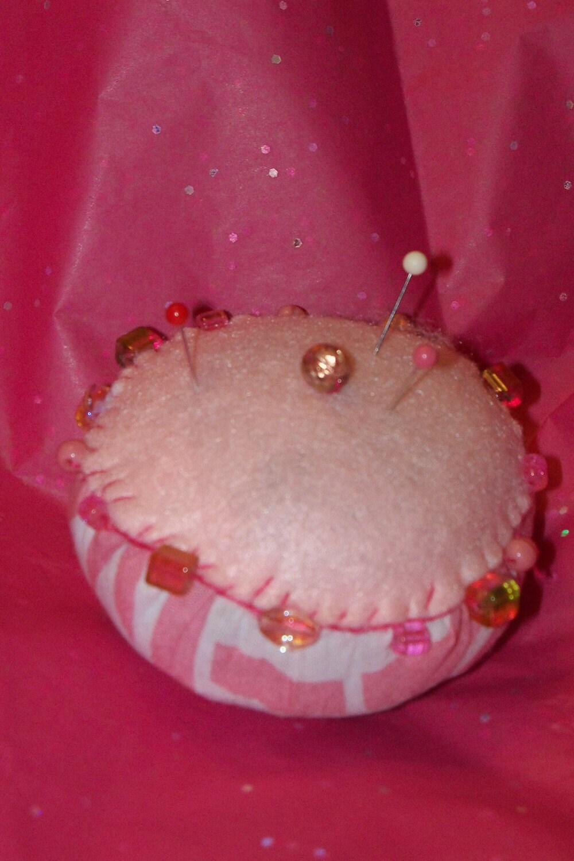 Pink Ribbon Breast Cancer Awareness Pin Cushion