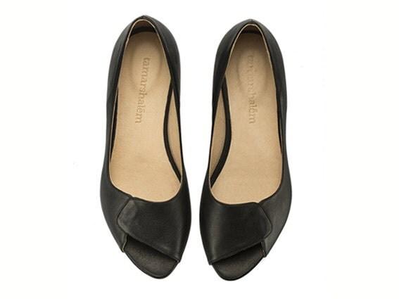 NEW ARRIVALS, Aya, Peep Toes, black, flat shoes, black flats - TamarShalem