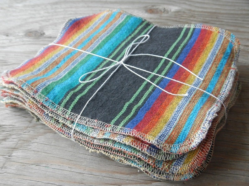 Cloth napkins unpaper towels baby kids wipes burp cloth set colorful boho rainbow green eco friendly kitchen solar made