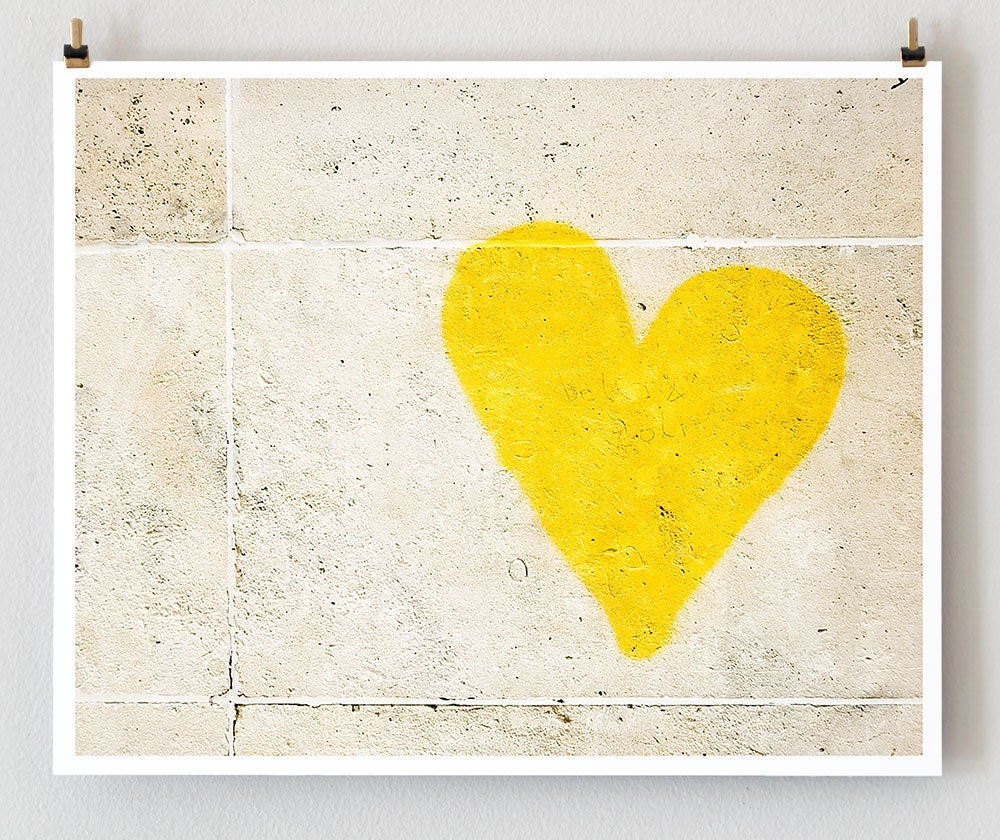 Yellow Heart, Paris Graffiti - Paris Photography - French Large Art Prints --- Paris Modern Wall Decor - Photo Valentine Decor - Paris Photo