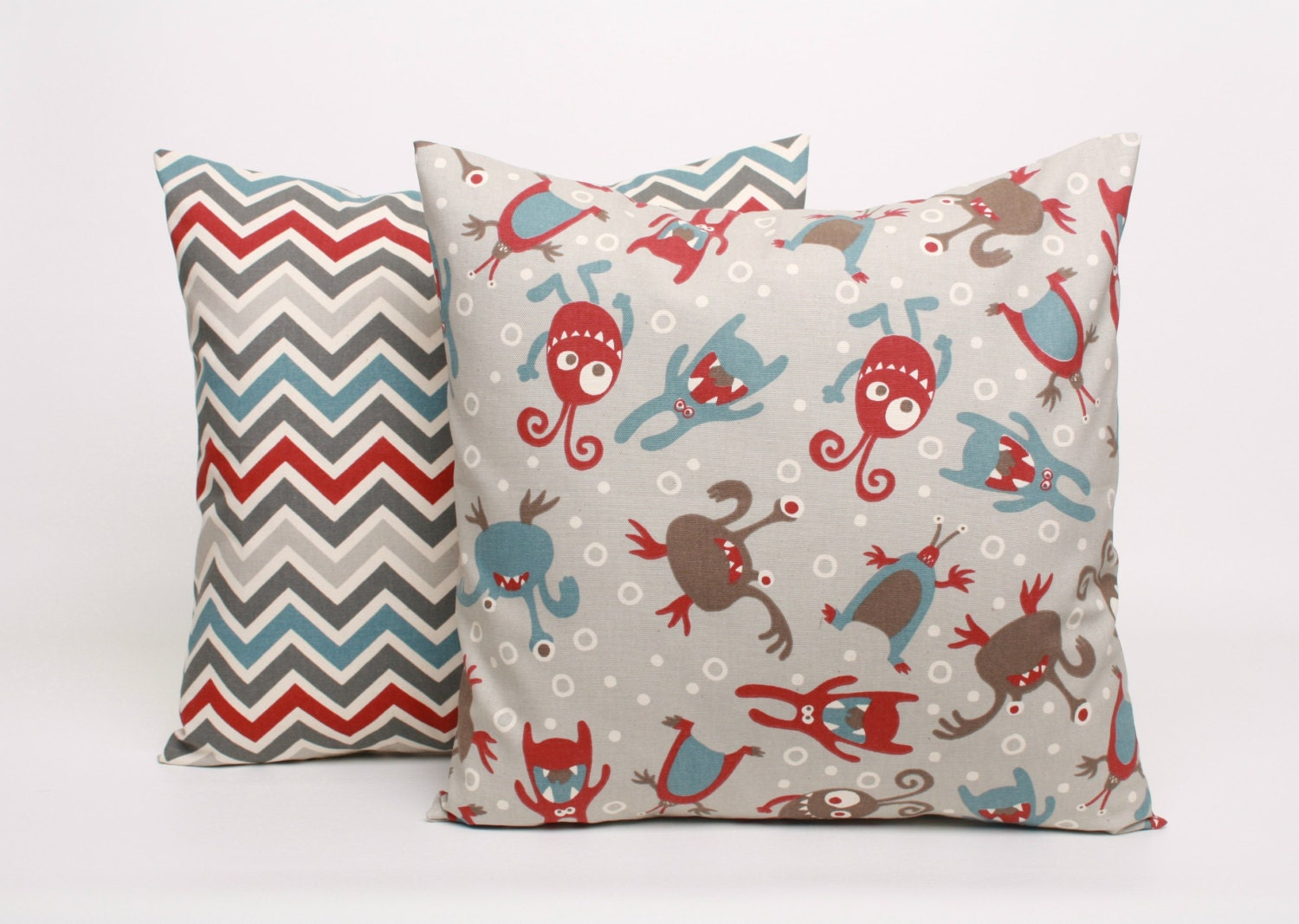 Set of Throw Pillows 22x22 Pillow Covers Gray Red, and Blue Lil Monsters and Chevron Decorative ...