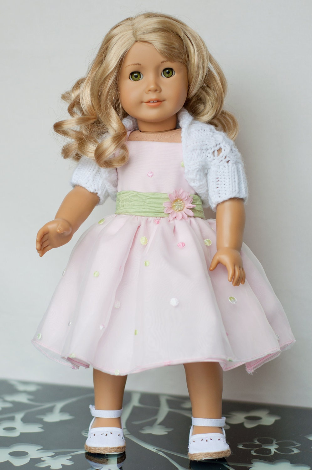 18 inch Doll Clothes: Pretty in Pink Party Dress, Shrug and Shoes for American Girl Doll Clothes for American Girl Dolls OOAK