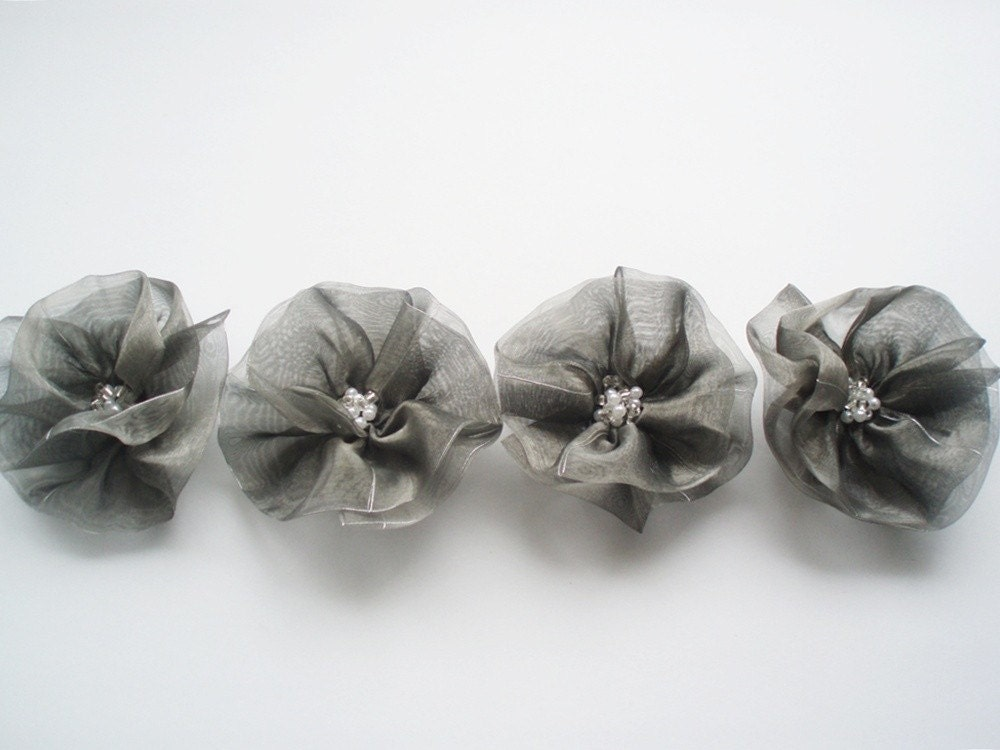 Grey Flowers Handmade Appliques Embellishments4 by BizimSupplies from etsy.com