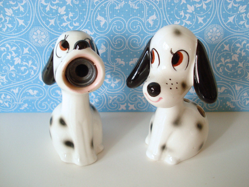 Vintage Ceramic Dog Pencil Sharpener and Holder Set JAPAN