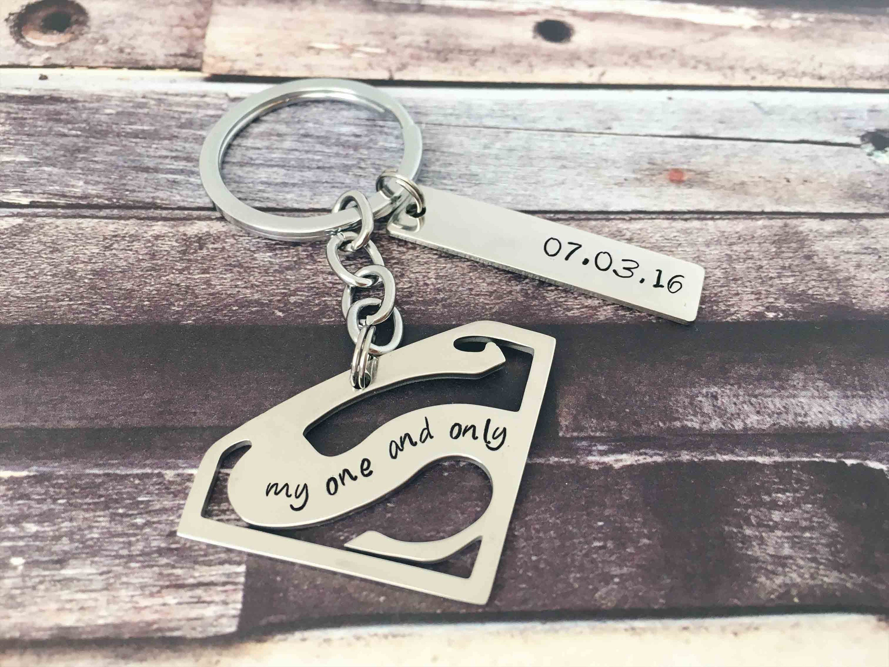 My Superman Love Keychain Gifts for Men My One and Only Superman Keyring Gifts for Groom Superman Gift for Him My Hero Custom Keychain