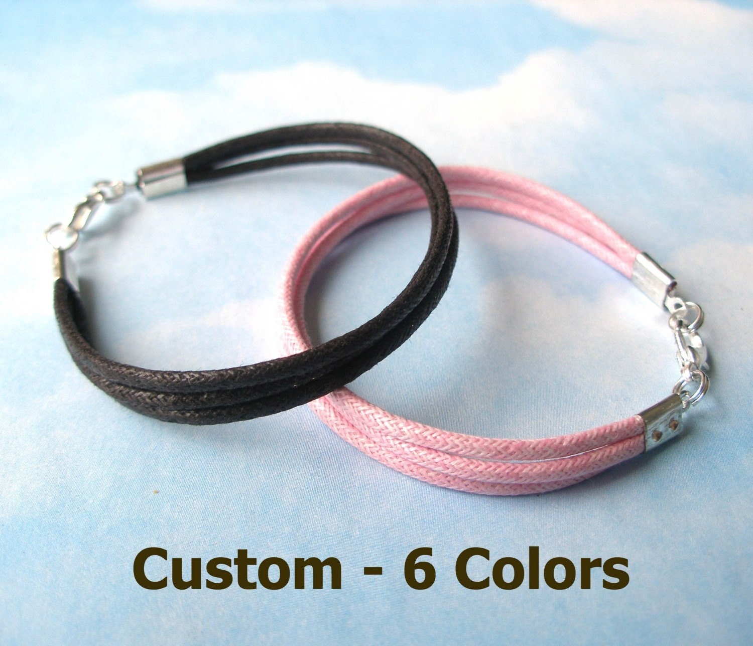 12 - Waxed Cotton Bracelets - Custom - Any length, 6 colors. Great Party Favors