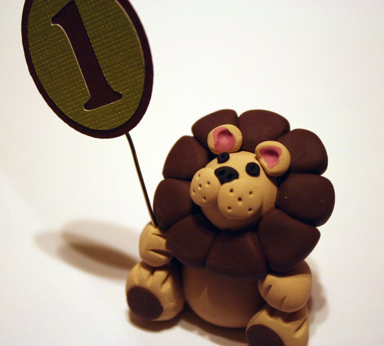 Clay Animal Cupcake / Cake Topper - Lion