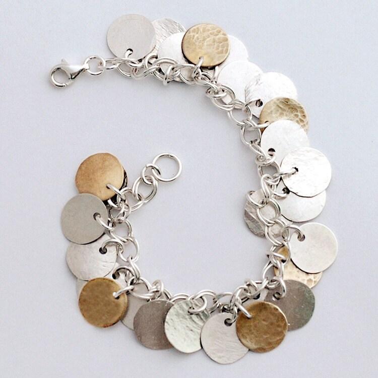 Sterling Silver Disks mixed with 14 karat Gold Vermeil Disks Charm Bracelet