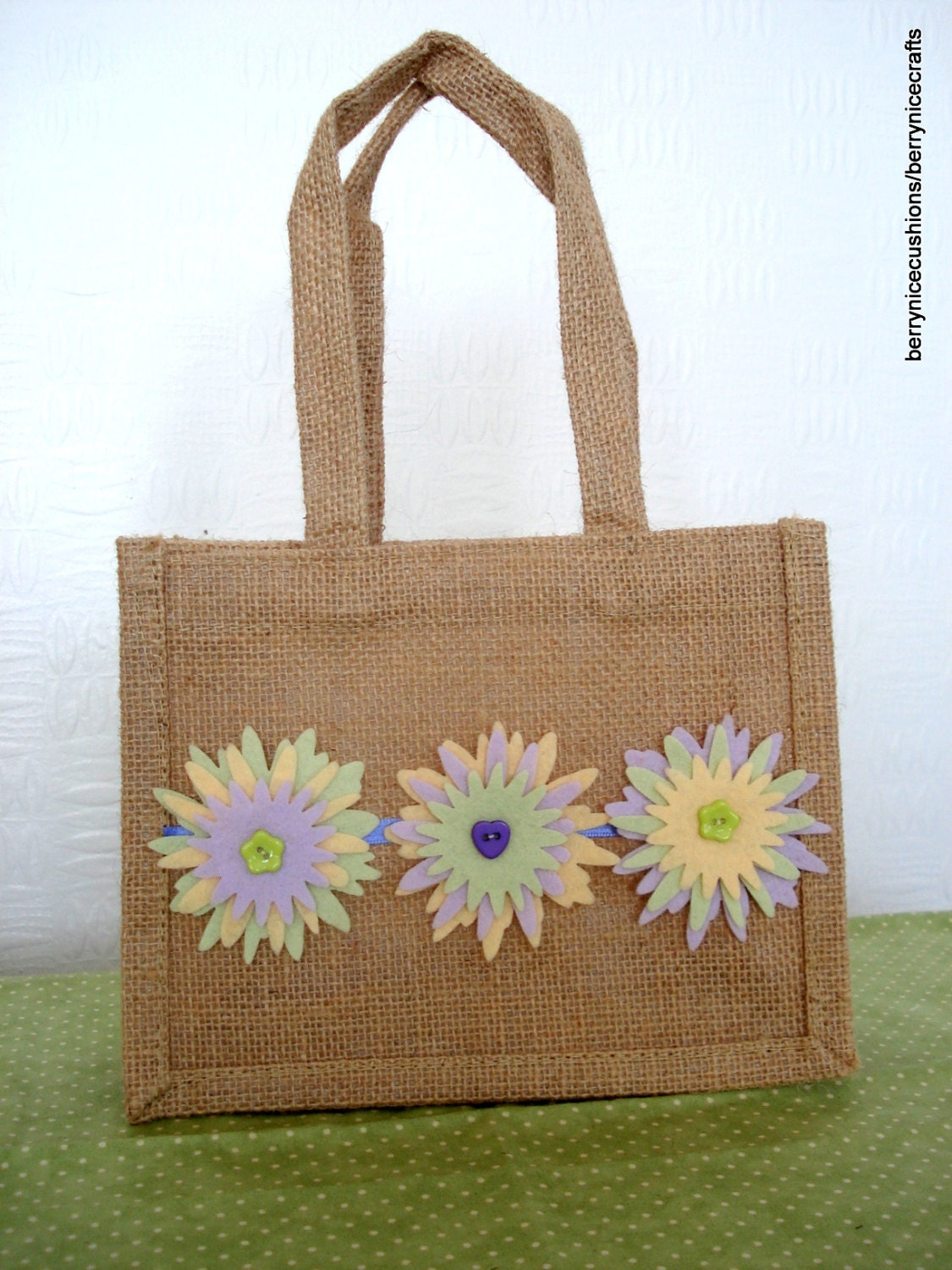 Mini Jute Gift Bag with Felt Flowers Mothers by ...