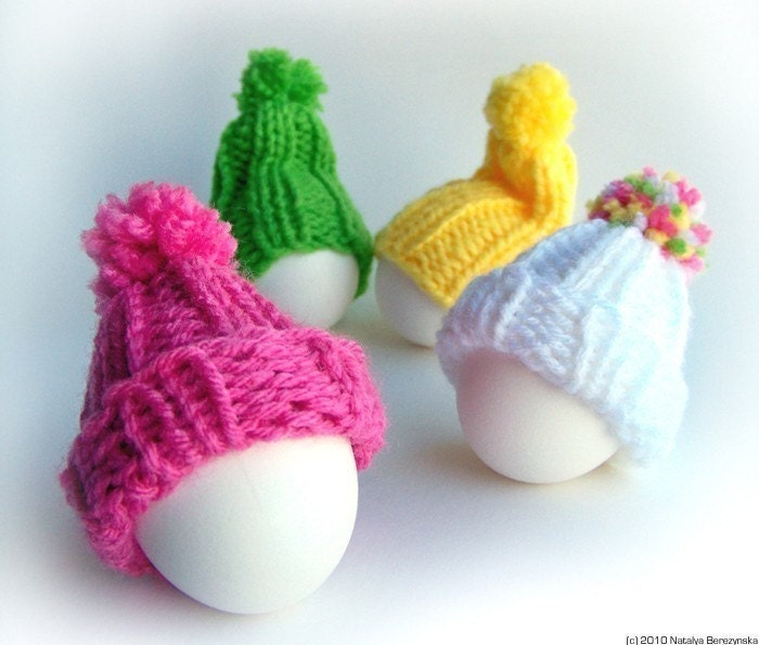 Egg Cozy Hats, Pom Pom, Knitted Ribbed, Set of 4, White Yellow PInk Green, Vibrant Multicolor