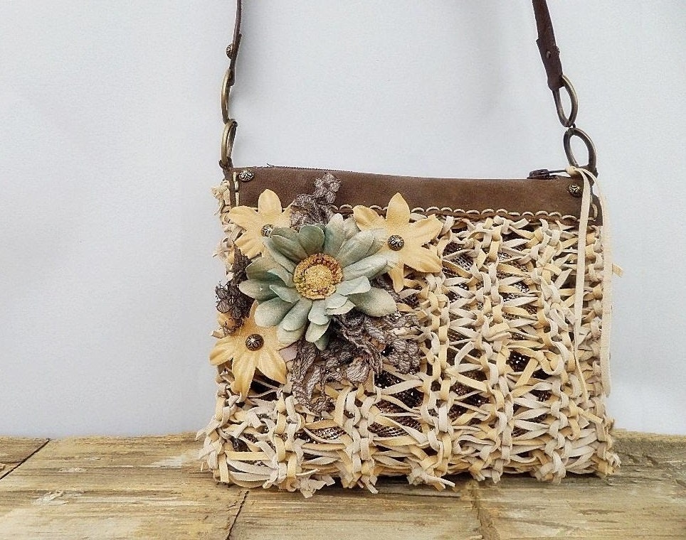 Leather crossbody bag, beige leather purse, lace leather flower shoulder bag,  knitted leather purse - Glad2Balive