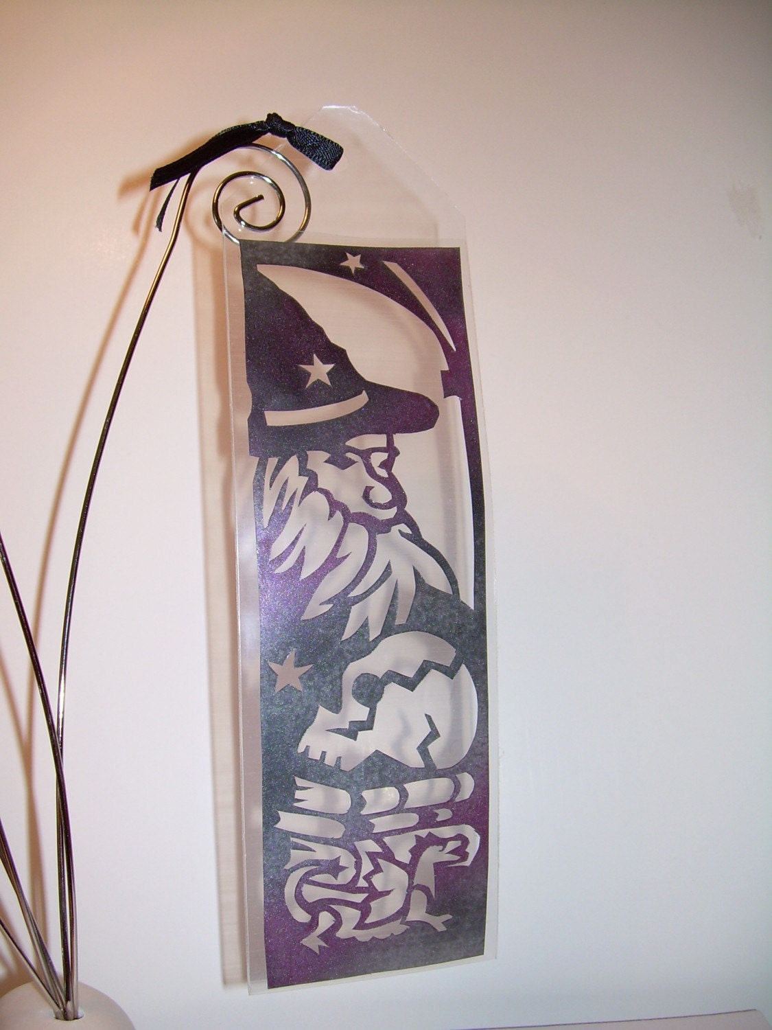 """Wizard Bookmark by ArabesqueArtsByDarcy<br><br>""""Wizard, warlock, witch, sorceror, or wise man. With baby dragon, skull, and, of course, books!"""""""