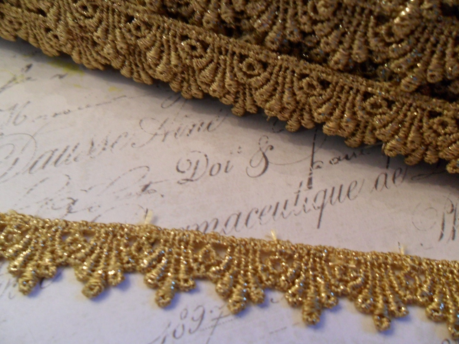 Metallic Gold Venise Lace Trim 1/2 inch wide