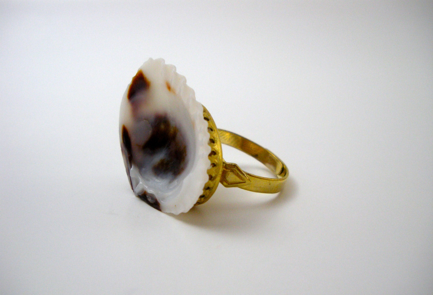 Naturally Patterned Seashell Ring - Adjustable Gold Brass Base