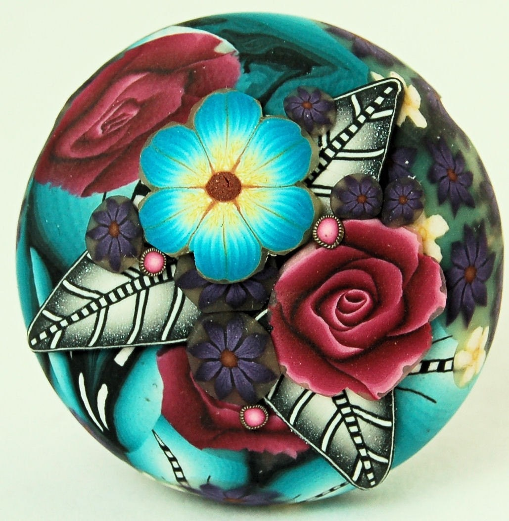 Polymer Clay Cane Slice Applique Circle Focal Bead