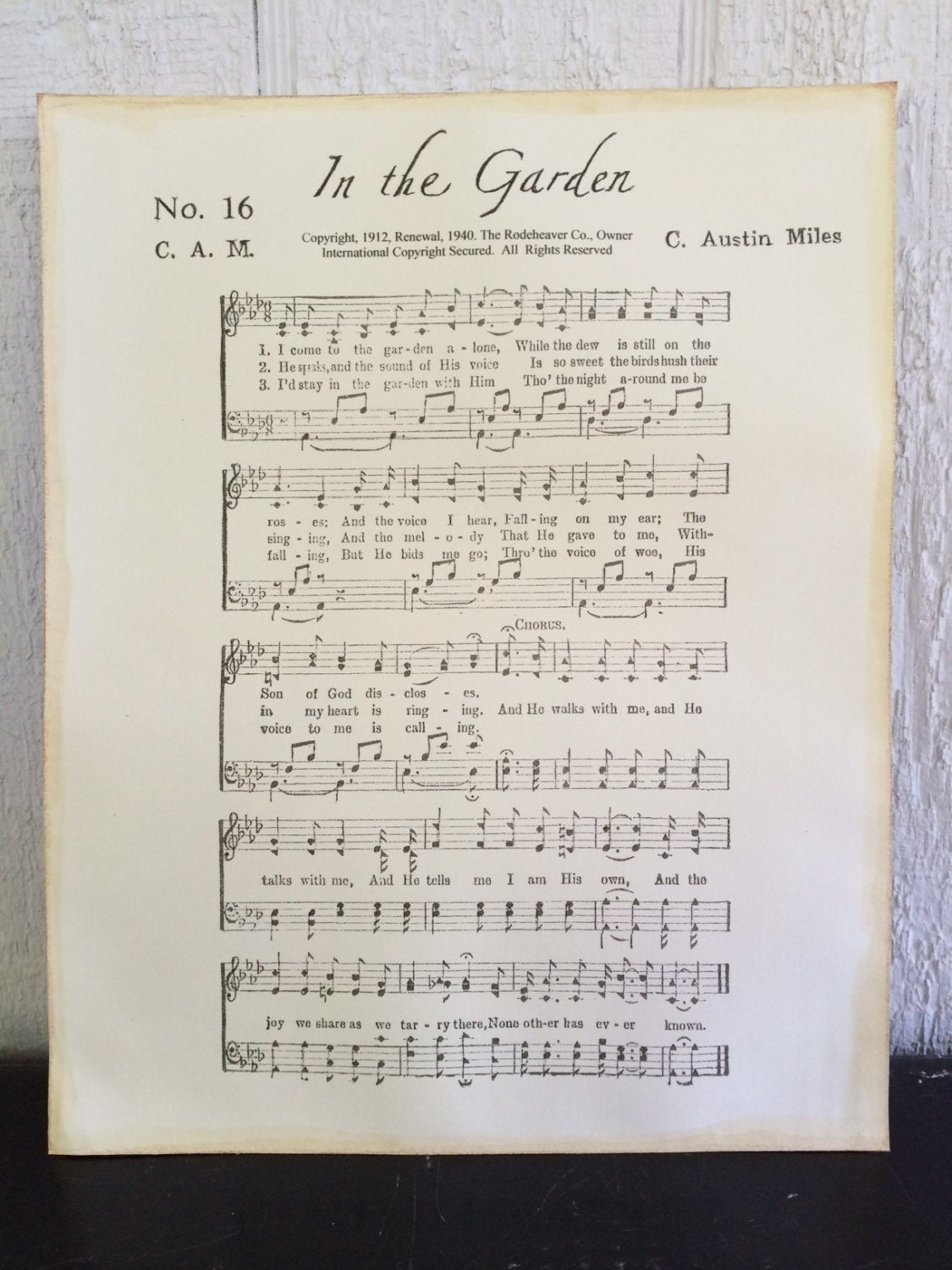 In The Garden Christian Hymn Sheet Music On By Thehymnshoppe
