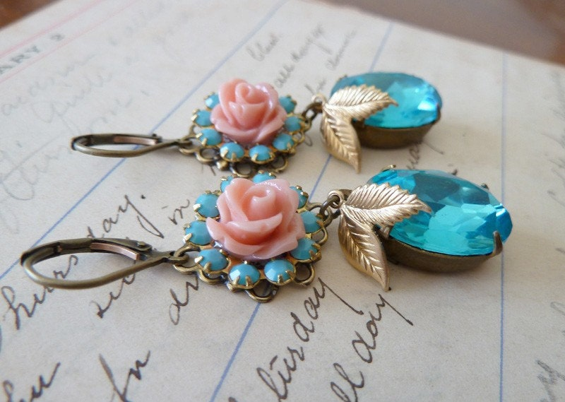 Turquoise Rose... Vintage Assemblage Earrings