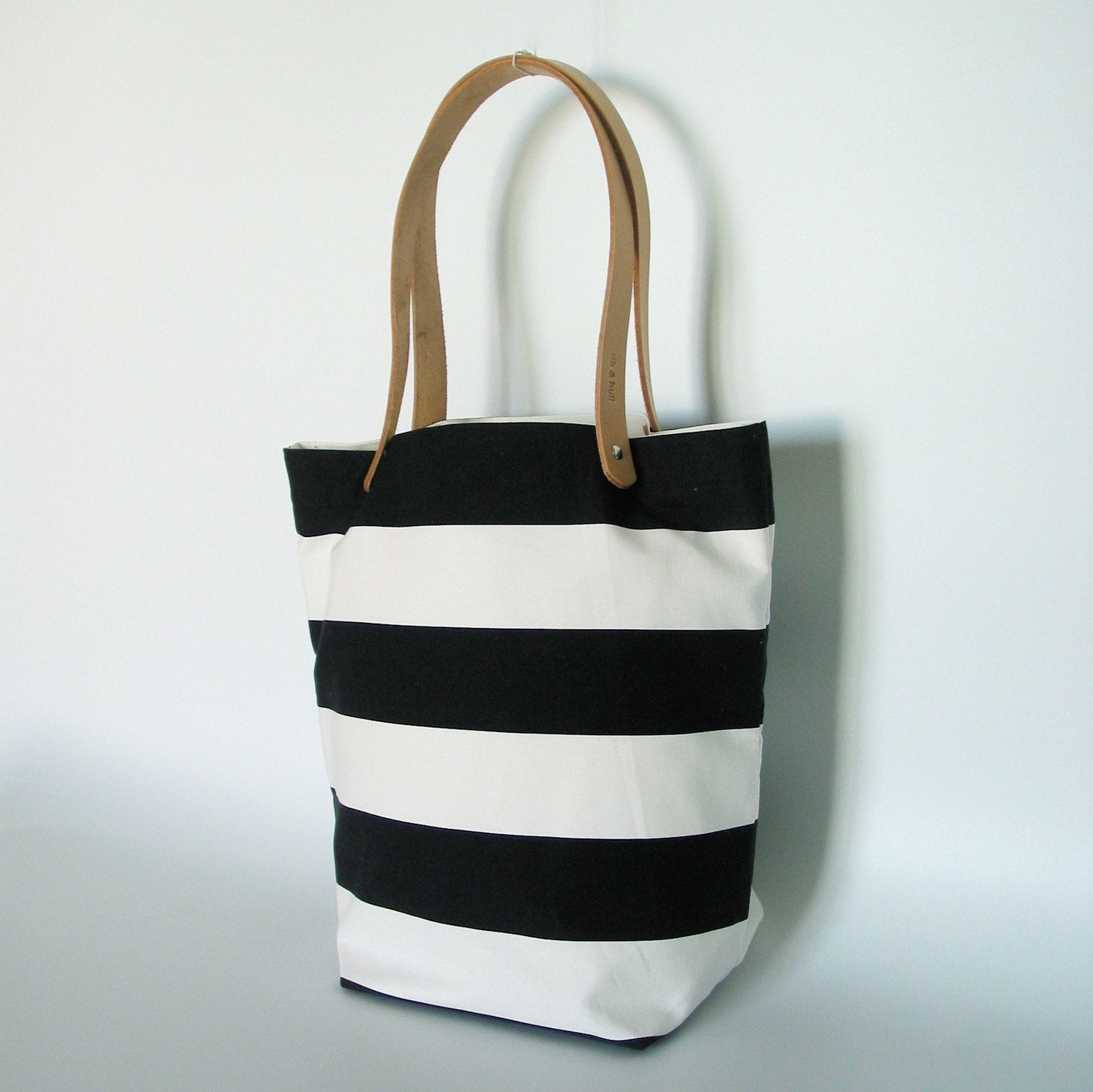 Striped Tokyo Tote - Black and White Horizontal Wide Stripe  - Natural Leather Straps