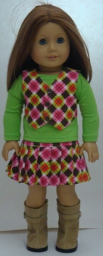 Corduroy Argyle Print Skirt And Vest Outfit For American Girl Or Similar 18-Inch Dolls