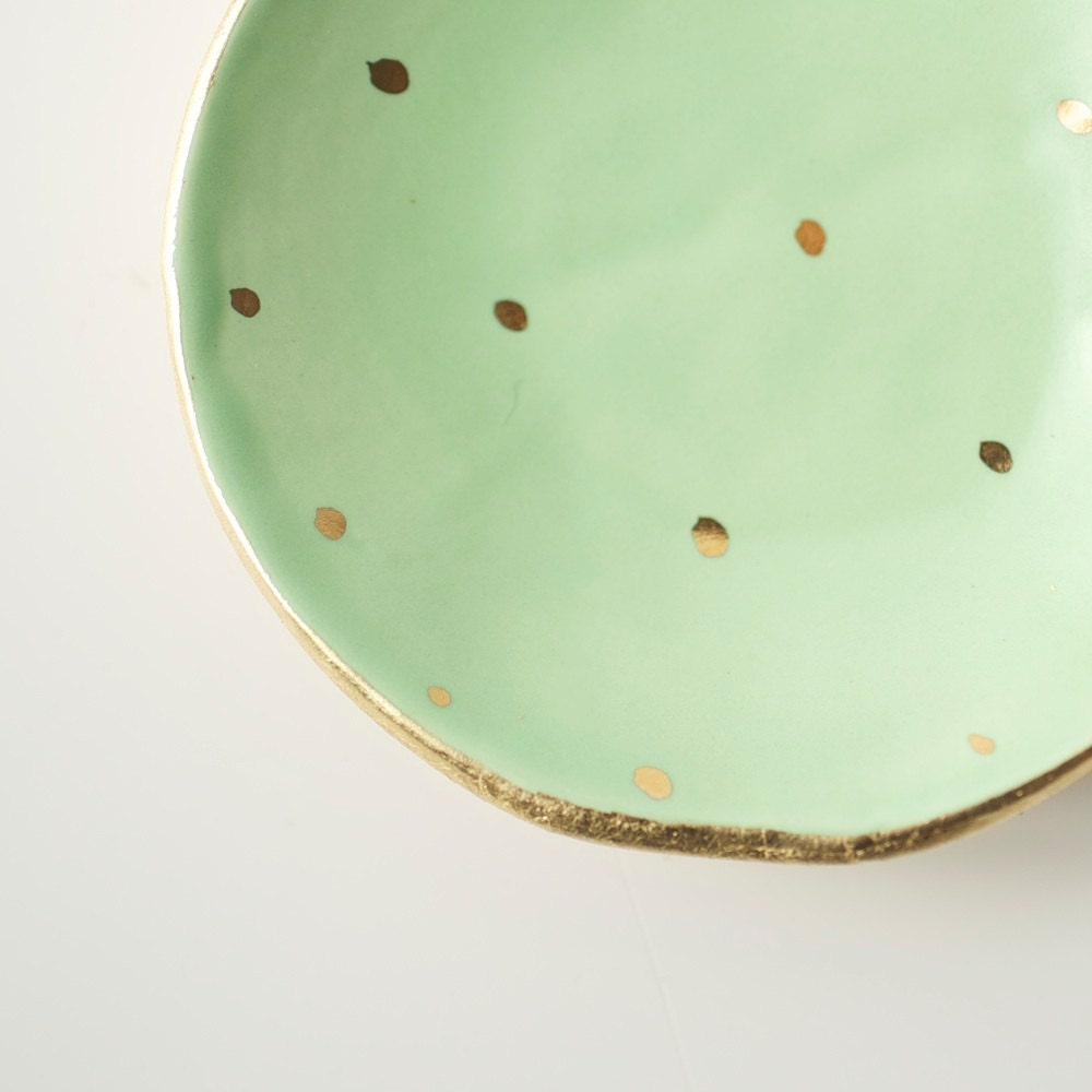 Mint and Gold Dot Dish - upintheairsomewhere