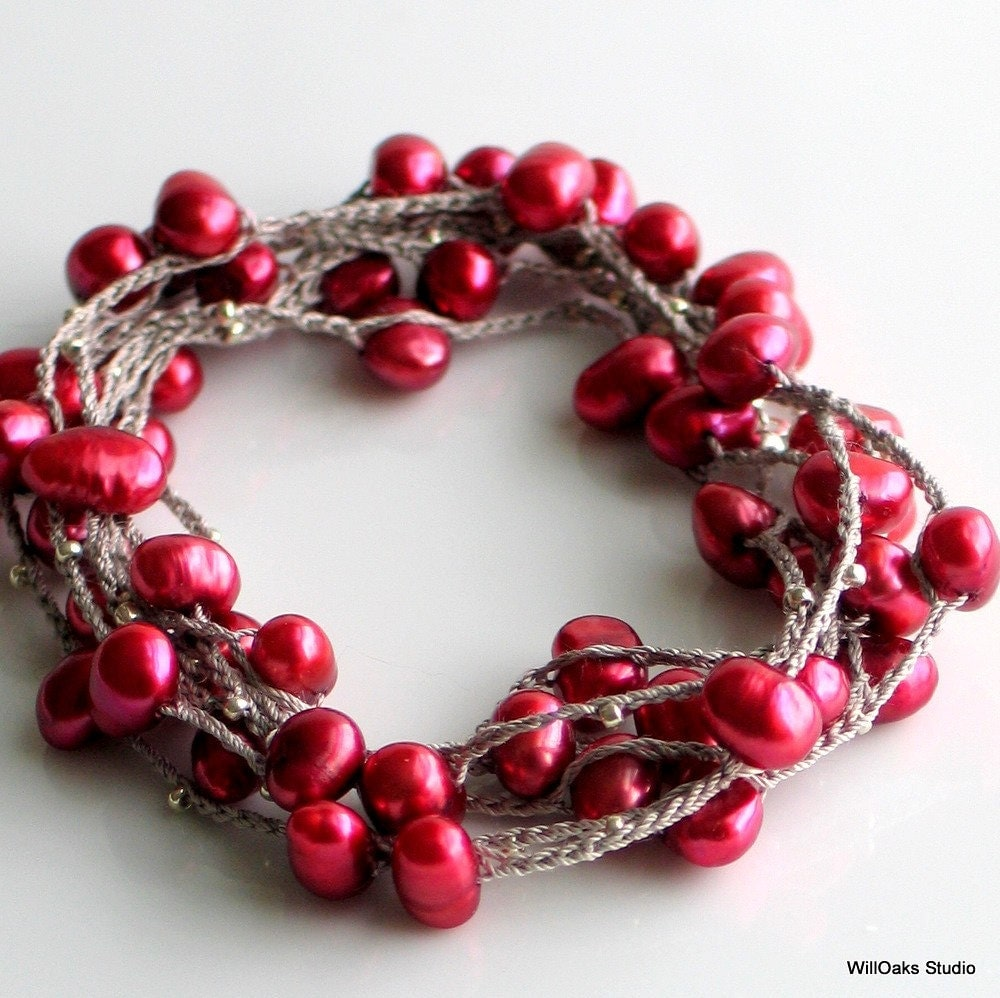 Poppy Red Pearl and Silk Chain