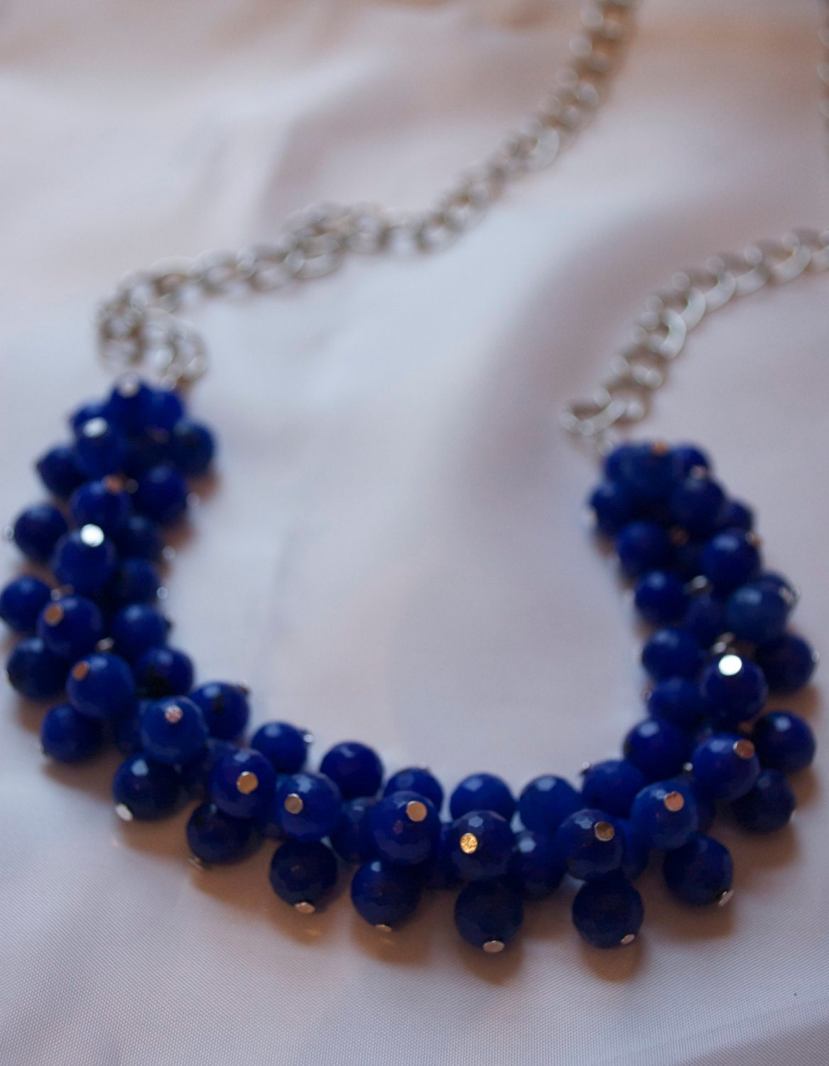 Cobalt Blue Long Cluster Necklace