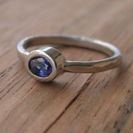 Blue Sapphire and 14K Palladium White Gold Ring