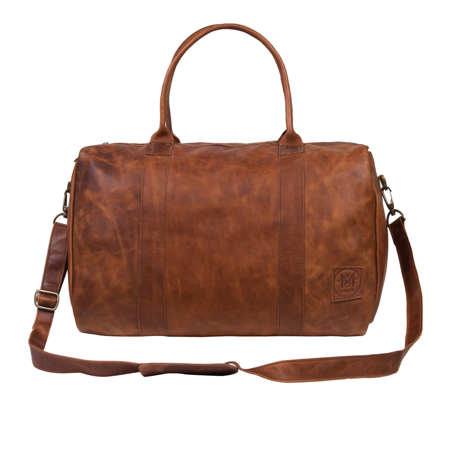 DeepCompact Holdall  Weekend Bag  Overnight Bag in Vintage Brown by MAHI Leather