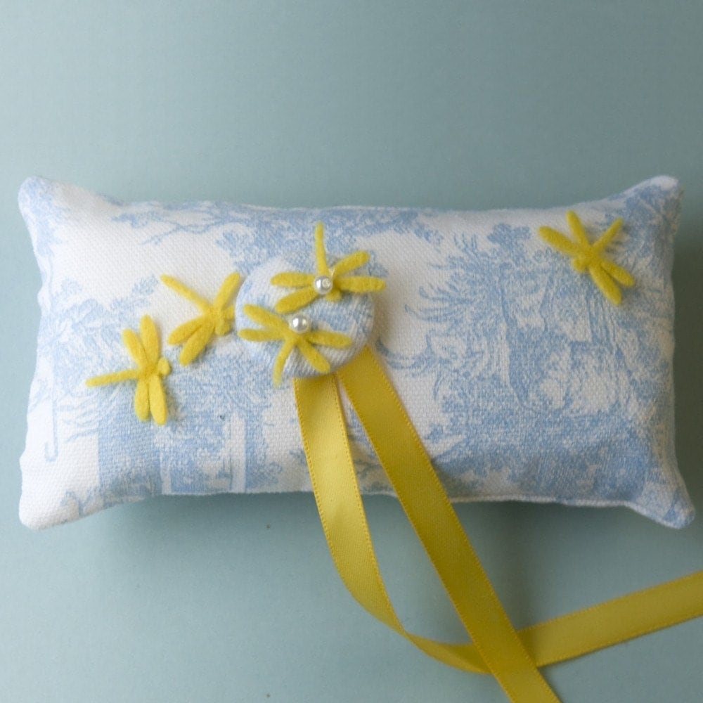 Yellow Dragonfly Series - Ring Pillow I