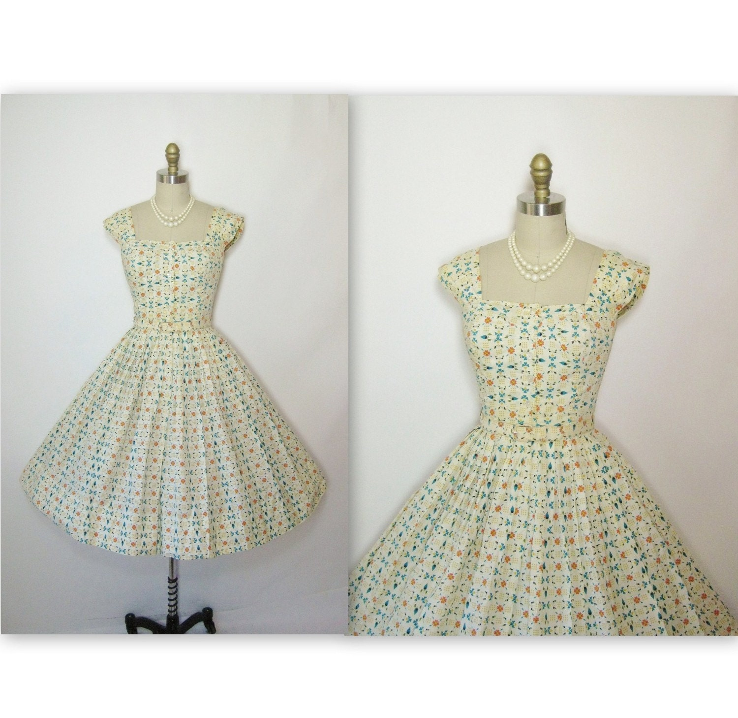 1950's Floral Cotton Garden Party Prom Summer Sun Dress XS