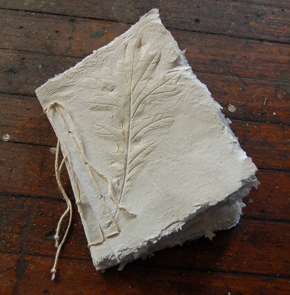Handmade Paper Recycled Journal - Single Oak Leaf